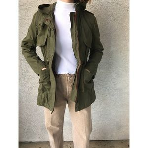 [olive & oak] green utility trench jacket